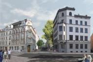 Görlitz: Zugang zur Hospitalstraße nach Umbau und Sanierung beider Eckhäuser (Bildmontage)