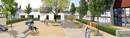 Celle: Wettbewerbsbeitrag »Leben in der Mitte«, UmbauStadt 2011: Platzimpression im Nordblock (Bildmontage)