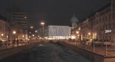Potsdam: Bildmontage Landesbibliothek bei Nacht